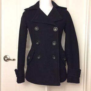 Gap Black Wool Blend Peacoat Jacket Size XS